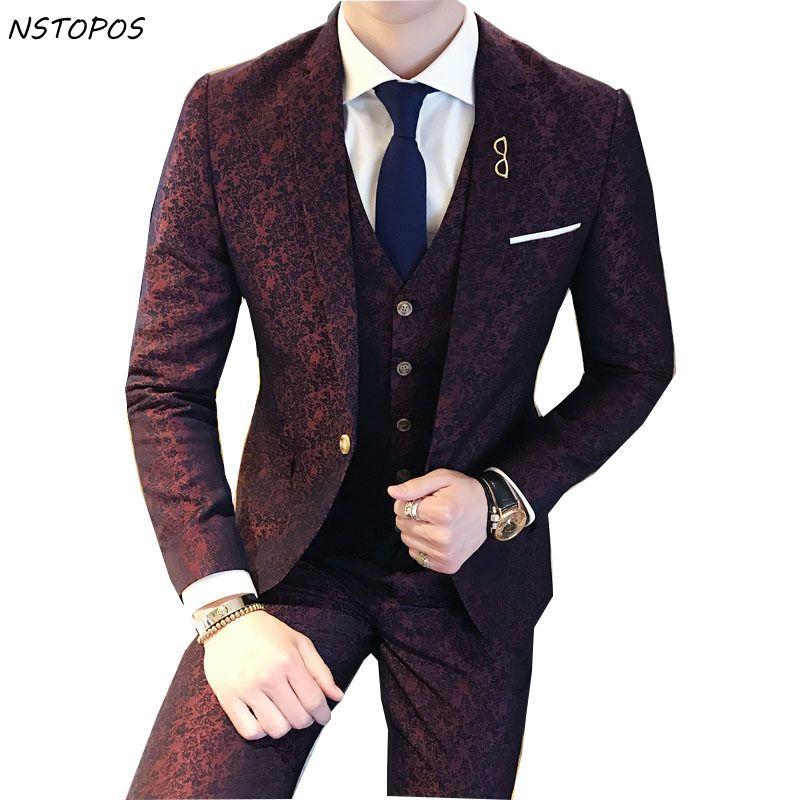 Smoking Paisley 3 Stück Jacquard Anzug 3 XLLuxury Wein Roten Kostüm Mariage Homme Herren Anzüge Mit Hosen Vintage Herren Anzug britischen