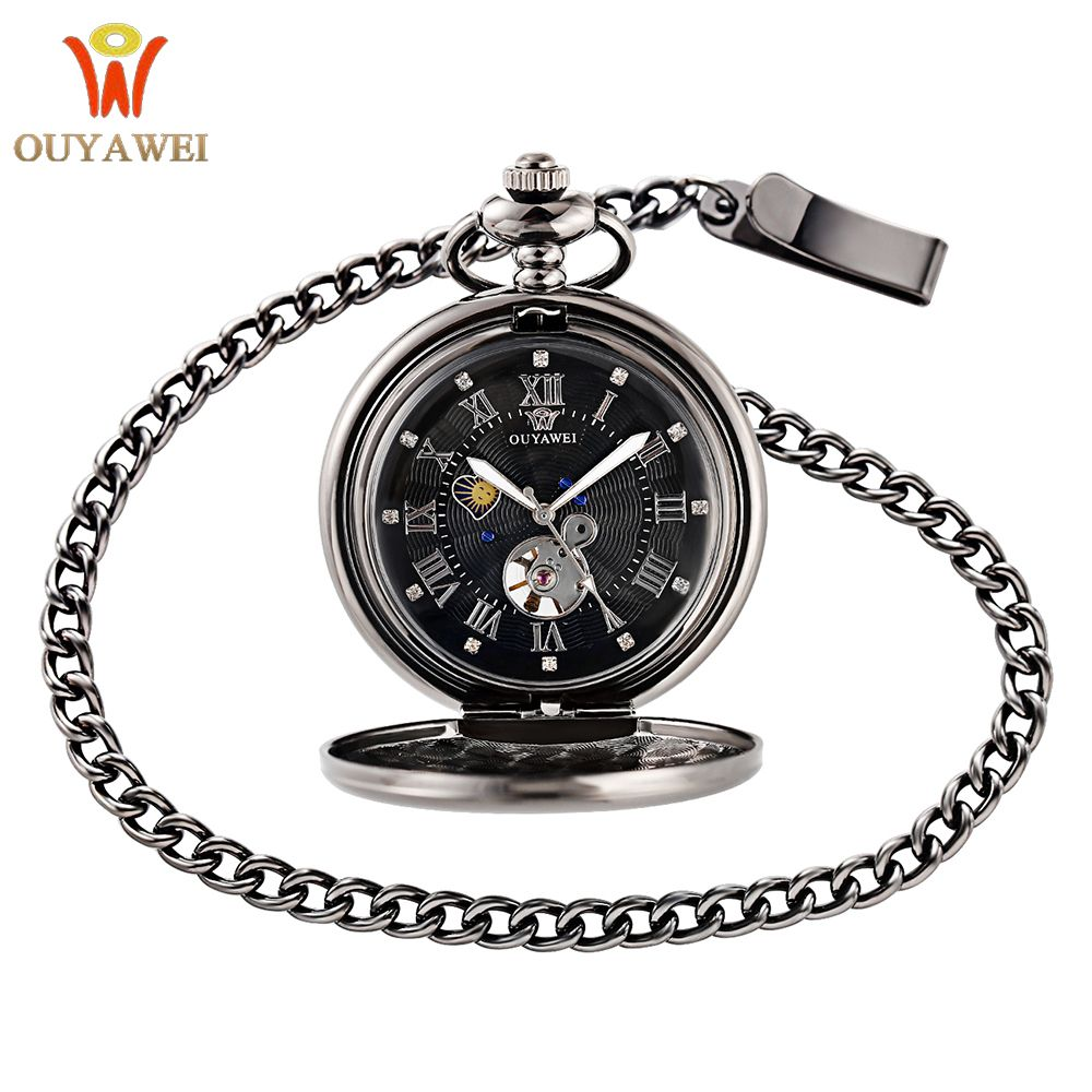 OUYAWEI 2017 Vintage Pocket Watch Black Case Hollow Dial Moon Phase Function Hand Wind Mechanical Fob Watch