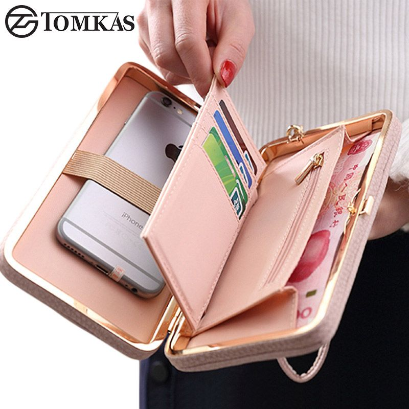 Luxury Women Wallet Phone <font><b>Bag</b></font> Leather Case For iPhone 7 6 6s Plus 5s 5 For Samsung Galaxy S7 Edge S6 Xiaomi Mi5 Redmi 3S Note3 4