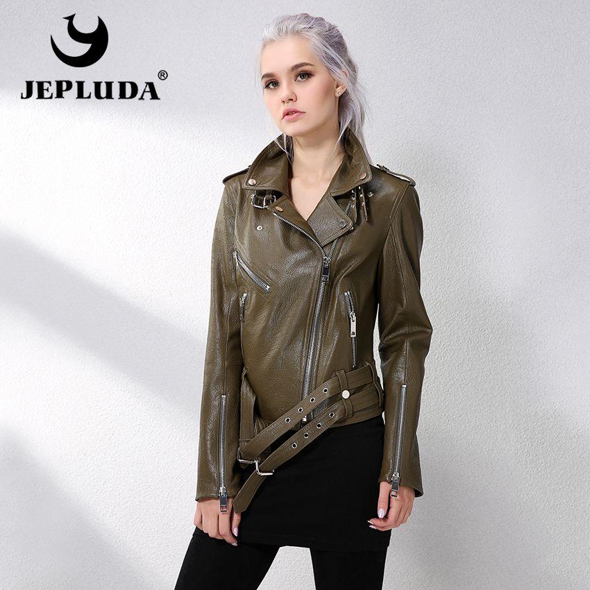 JEPLUDA New Women Jacket Genuine Leather Lambskin Coats Real Leather Jacket Slanted Zipper Motorcycle Women's Sheepskin Coat