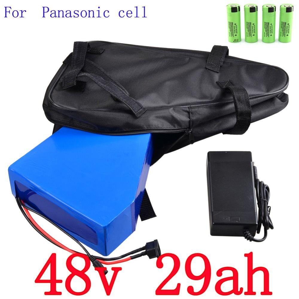 High quality 48V 29AH 2000W electric bike battery 48V 29AH triangle lithium battery use Panasonic 2900mah cell 50A BMS Free bag