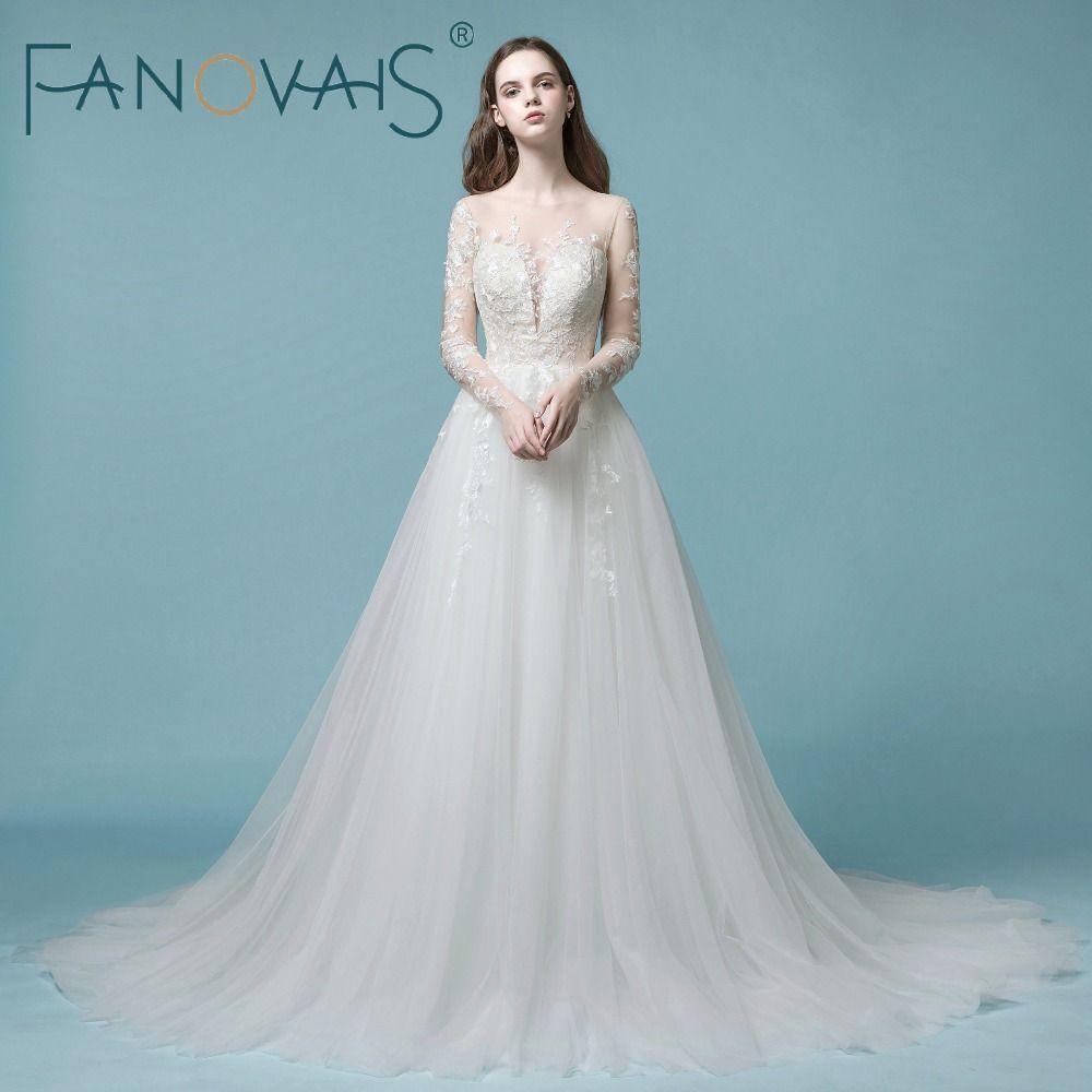 2018 Vintage Tulle Wedding Dresses Long Sleeves Lace Wedding Gowns Vestido de Novia princesa Tulle Mariage Buttons Back