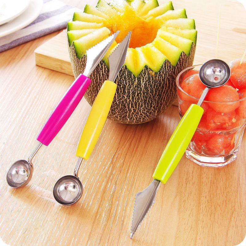 4 pièces/ensemble créatif Fruit sculpture couteau pastèque Baller crème glacée creuser boule Scoop cuillère Baller bricolage assortiment vaisselle froide outil