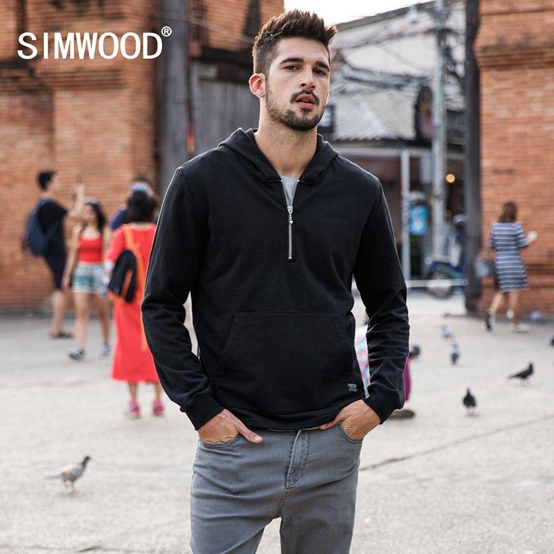 Simwood 2018 nuevos llegan marca Sudaderas primavera sudaderas hombres casual Sudaderas más tamaño pullover ropa tracksuits 180105