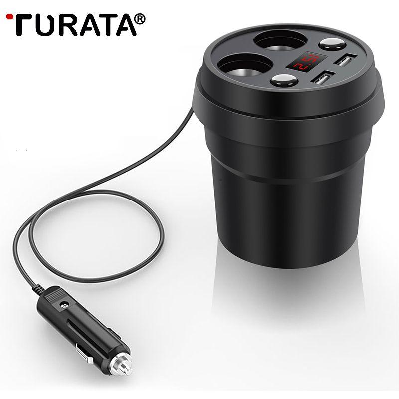 TURATA USB Voiture Chargeur Double 3.1A Charge Rapide Chargeur De Voiture USB avec 2-Prise Allume-cigare pour iphone smartphone Samsung