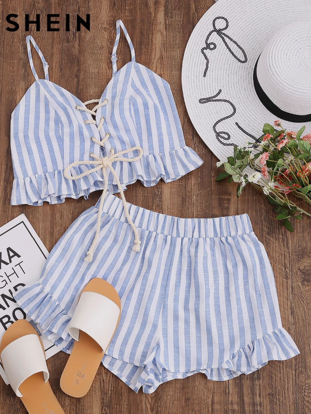SHEIN <font><b>2017</b></font> Women Summer Two Piece Set Blue Striped Sleeveless Lace Up Smocked Crop Cami and Ruffle Shorts Co-Ord