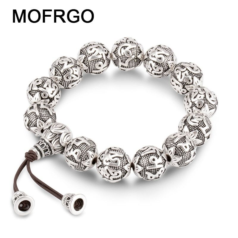 <font><b>charm</b></font> Fine Retro Tibetan Buddhism Plated Thai Silver rope Bracelet Men Six Words Mantras OM MANI PADME HUM Lotus Beads Bracelet