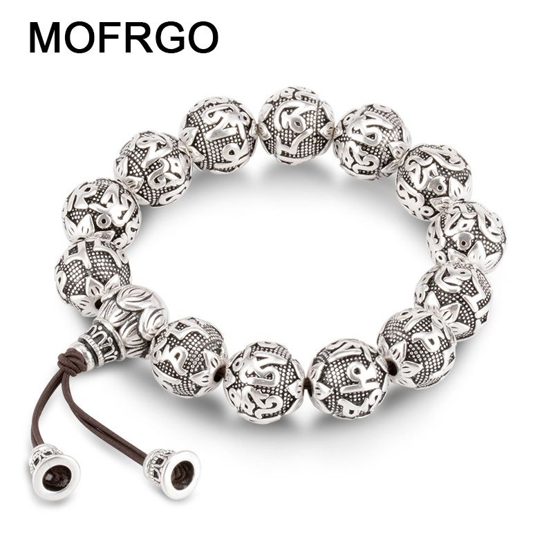 charm Fine Retro Tibetan Buddhism Plated Thai Silver <font><b>rope</b></font> Bracelet Men Six Words Mantras OM MANI PADME HUM Lotus Beads Bracelet