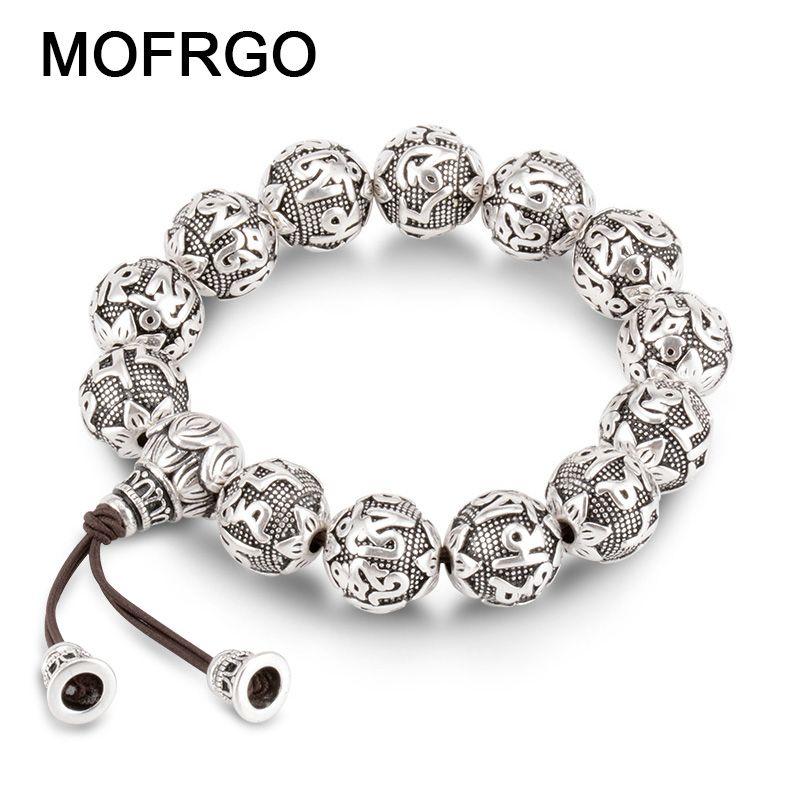 charm Fine <font><b>Retro</b></font> Tibetan Buddhism Plated Thai Silver rope Bracelet Men Six Words Mantras OM MANI PADME HUM Lotus Beads Bracelet