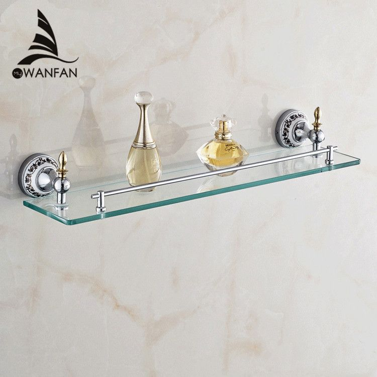Bathroom Shelves Golden Finish Metal Material Bath Shelf With Single Tempered Glass on the Wall Bathroom Storage Holder ST-6713