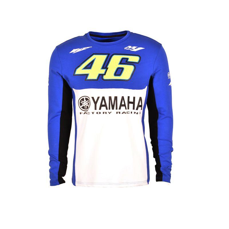 2017 Valentino Rossi VR46 T-shirt for Yamaha M1 dual Moto GP Monza Cotton Long Sleeve T-shirt Blue White