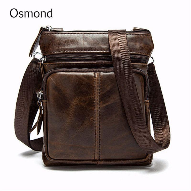 Osmond sacs à bandoulière en cuir véritable pour hommes petit sac à bandoulière Messenger Vintage sac à main de luxe sacoche décontractée Bolsa