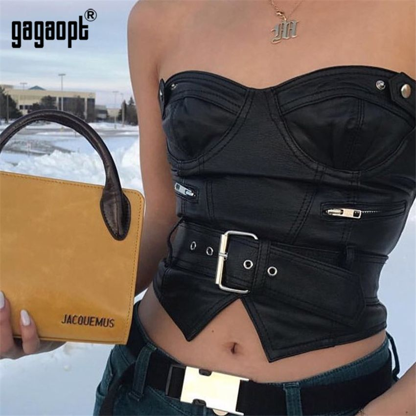 Gagaopt 2018 Summer Crop Top Women Off Shoulder Leather Sexy Short Club Top with Leather Waist Belt Party Wearing
