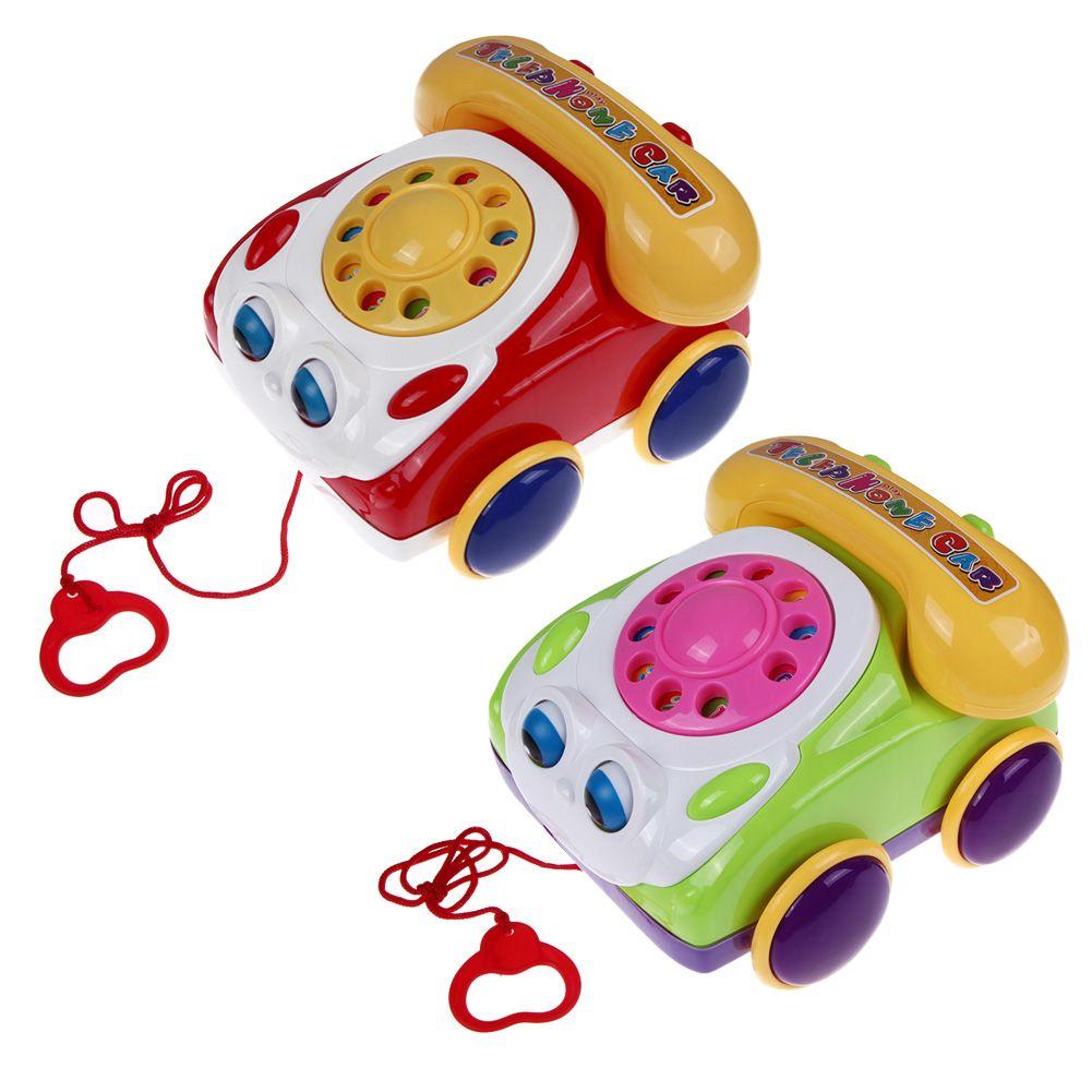 Bebé Teléfono De Juguete de Plástico de Colores Para Niños de Aprendizaje Divertido Juguete Teléfono de La Música Fundamentos Charla Telefónica Clásica Niños Juguete Del Tirón