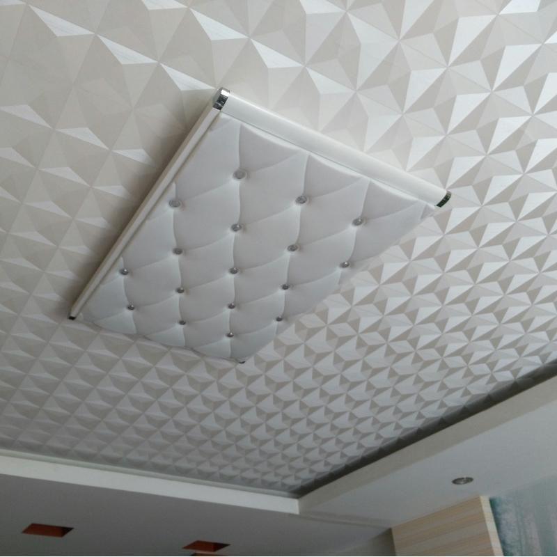 Ceiling Wall Paper 3D Stereo White Diamond PVC Embossed Wallpaper Waterproof Living Room Bedroom Ceiling Decorative Wallpaper