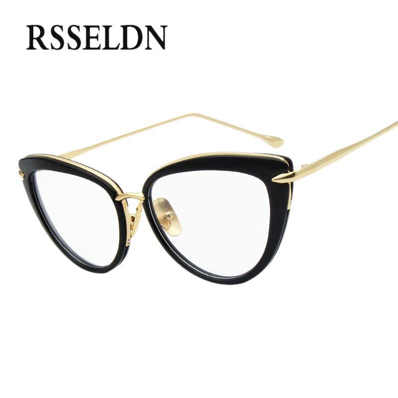 RSSELDN 2017 Fashion New Women Eyeglasses Frames Classic Brand Designer Luxury Cat Eye Glasses Trendy Lunettes Vintage