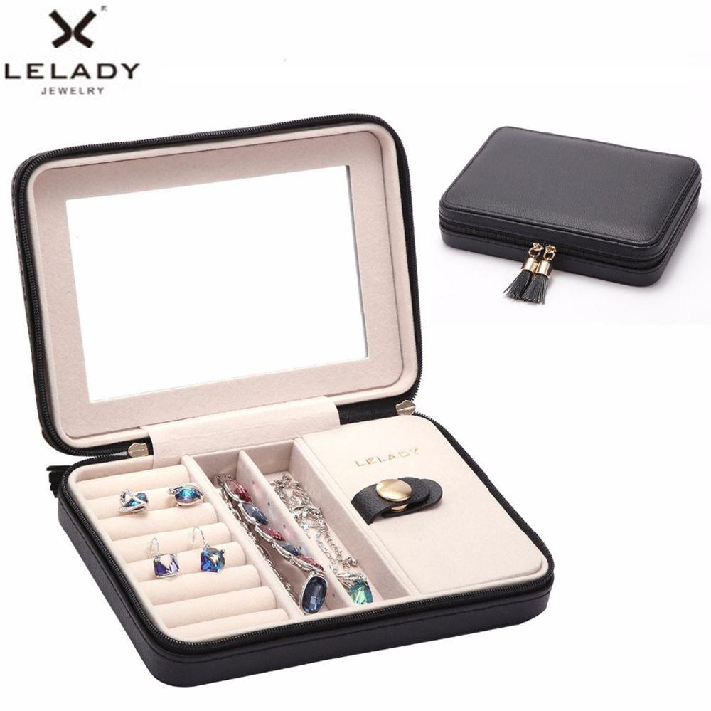 Lelady 17*4*12 см небольшая шкатулка Портативный путешествия ювелирные изделия с зеркалом Организатор кожаный футляр для хранения для ювелирные ...