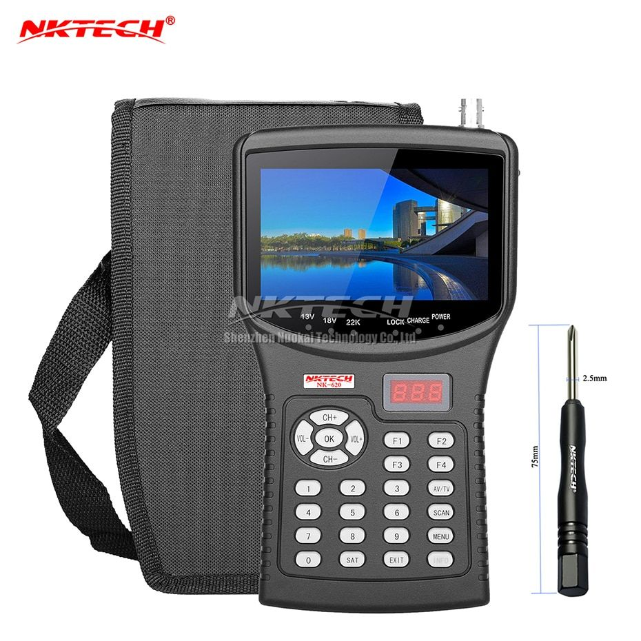 NKTECH HD Digital Satellite TV Signal Finder Meter NK-620 Cctv-kamera Tester AHD TVI CVI Analog Video Monitor 4,3