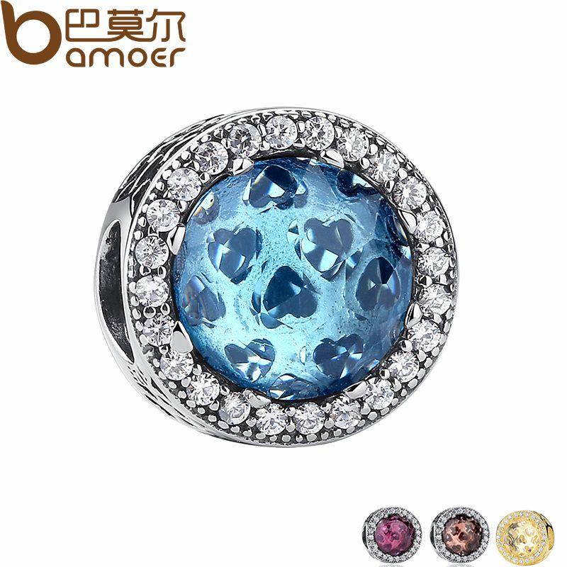925 Sterling Silver Radiant Coeurs, ciel-Bleu Cristal & Clear CZ Charme Fit Bracelet & Collier Bijoux Accessoires PAS205