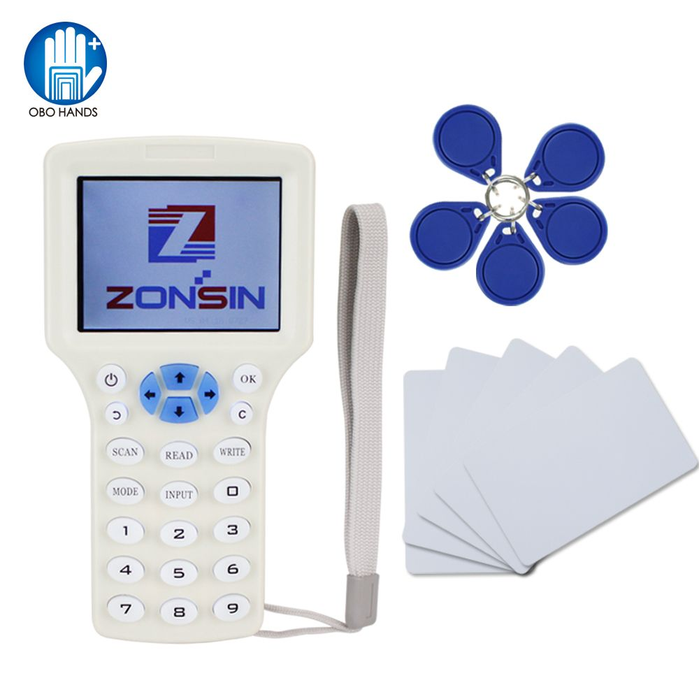 English Rfid NFC Copier Reader Writer duplicator 10 Frequency Programmer with color screen +5pcs T5577 em4305 cards+5Pcs UID key