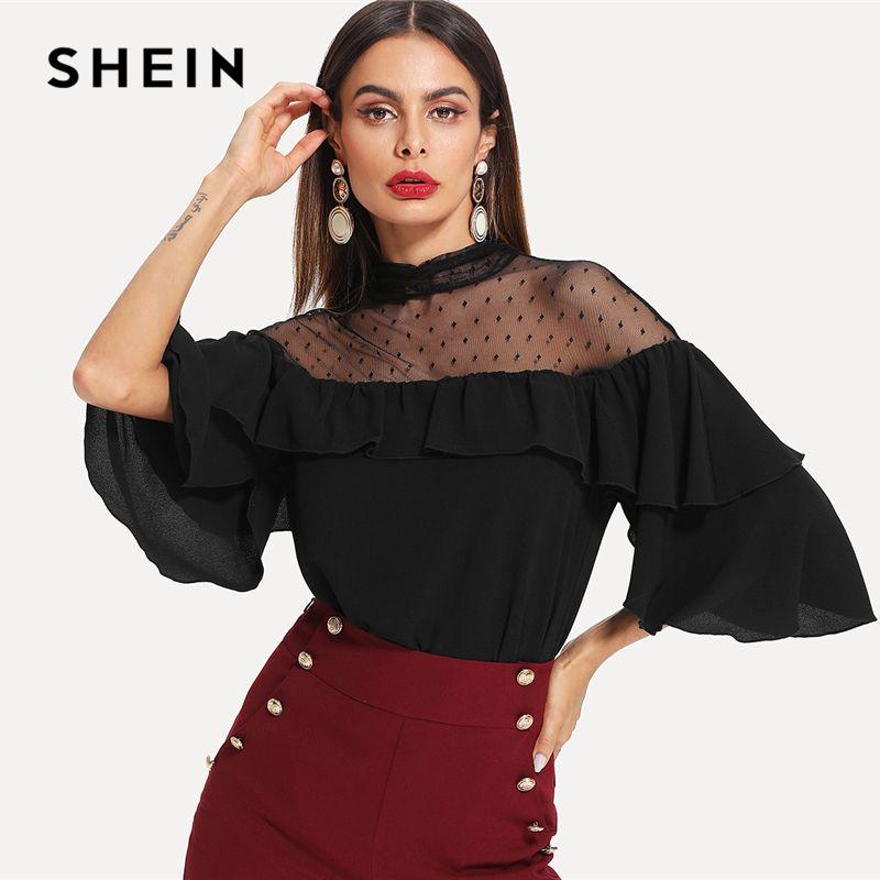 SHEIN Black Elegant <font><b>Stand</b></font> Collar Dot Mesh Insert Keyhole Back Flounce Sleeve Blouse Spring Fall Women Workwear Casual Shirt Top