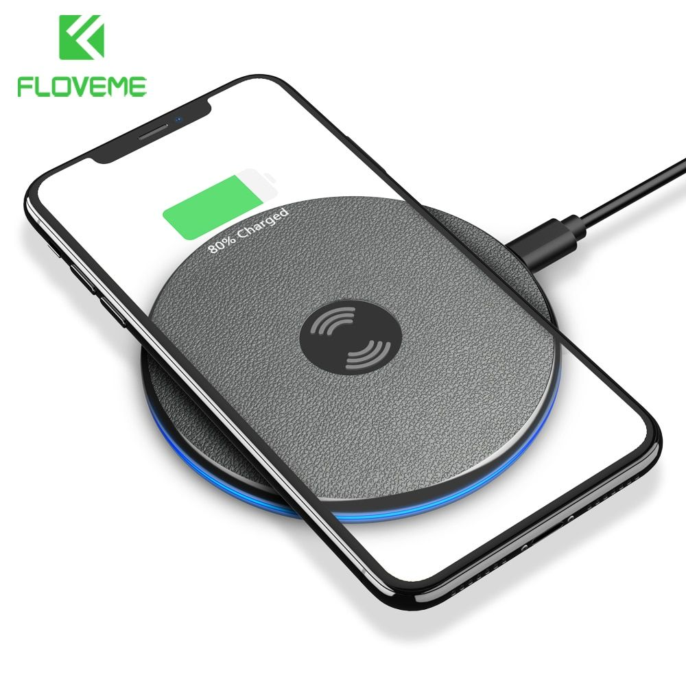 FLOVEME Qi Wireless Charger For iPhone X Xs Max Xr 8 Plus 9mm Ultra Thin Wireless Charging Pad For Samsung S8 S10 S9 Plus Note 9
