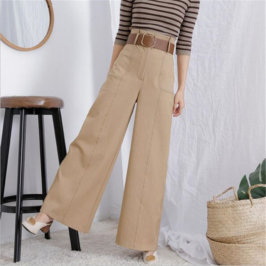 MLCRIYG The new high waisted skinny jeans casual pants loose retro wide leg pants