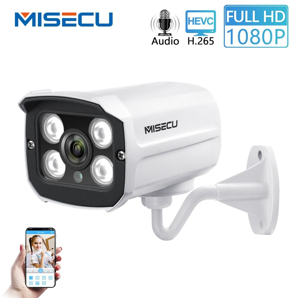 MISECU H.265 Audio Kamera Sound Rekord DC 12V 48V POE Wasserdichte Metall 2.0MP Volles HD Motion erkennen RTSP FTP Onvif nachtsicht