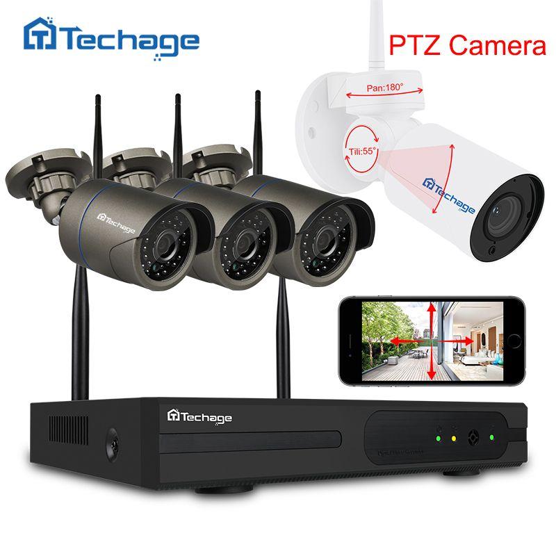 Techage 4CH 1080P Wifi CCTV Security System Wireless NVR Kit 2.0MP Outdoor PTZ Wifi IP Camera P2P Video Surveillance System Set