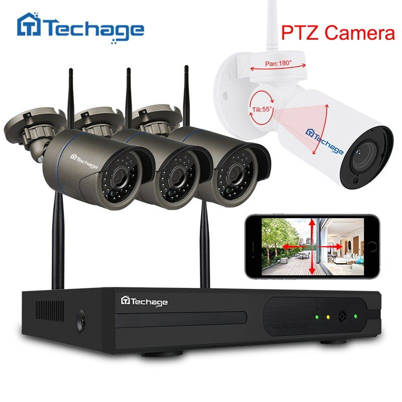 Techage 4CH 1080P Wifi CCTV Security System Wireless NVR Kit 2.0MP Outdoor PTZ Wifi IP Camera P2P Video Surveillance System Set