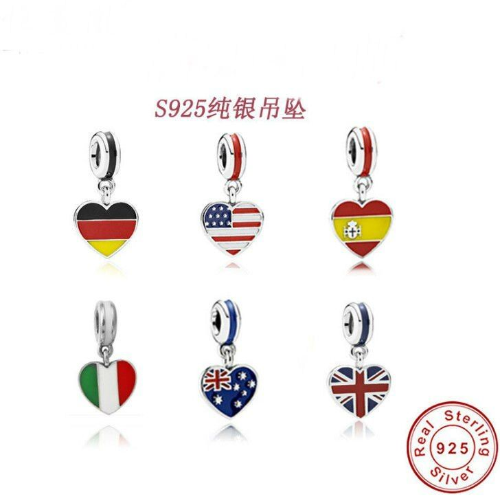 2017 Heart Flag Charms Pandora 100% Authentic 925 Sterling Silver Thread Beads fit Pandora Charms bracelets & Necklaces