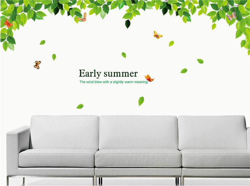 Green Leaf Butterfly PVC Vinyl Removable Decals Home Decoration Art Mural for Living Room Bedroom Wall Poster Stickers