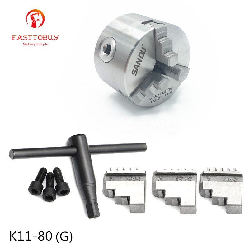 6600rpm 3inch 3 Jaw 80mm Lathe Chuck Self-Centering K11-80(G) with Wrench and Screws Hardened Steel for Drilling Milling Machine