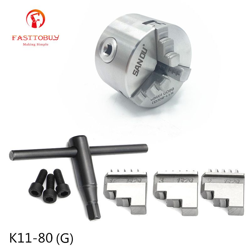 New 3 inch 3 Jaw 80mm LATHE Chuck Self-Centering K11-80(G) with Wrench and Screws Hardened Steel for Drilling Milling Machine