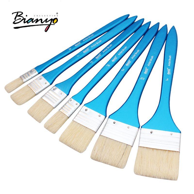 Bianyo 7 pièces artiste pinceau à poils plats à l'huile de cheveux outils de Graffiti ensemble pour acrylique aquarelle bricolage Graffiti brosse fournitures d'art