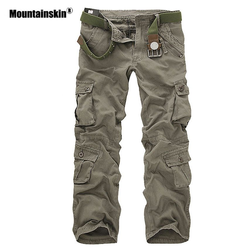 Mountainskin Men's Military Multi-pockets Pants Outdoor Tactical Loose Trousers Hiking Camping Fishing Climbing Brand VA271