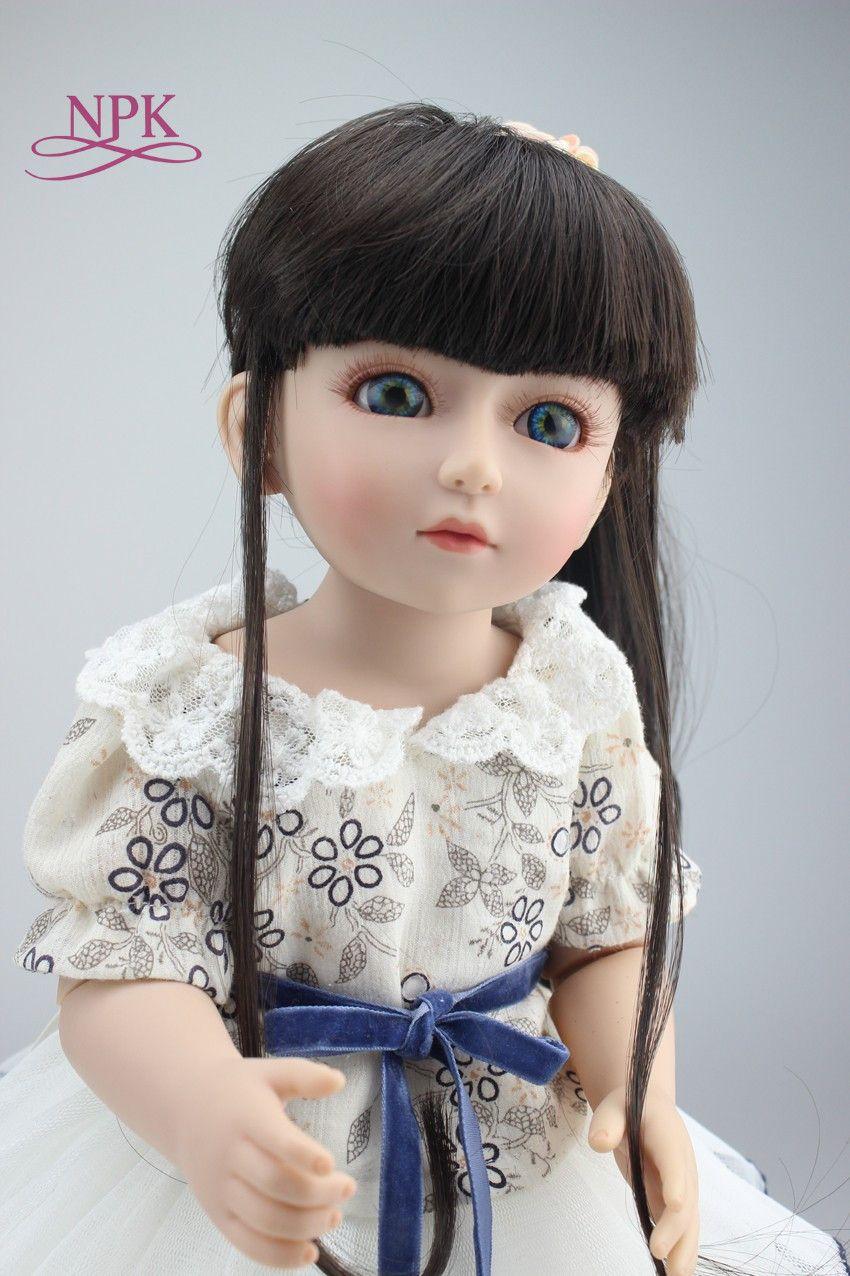 NPK BJD 18'' 45CM American Sweet Girl Doll Reborn Baby Dolls Full Handmade Full Vinyl Baby Toys Best Girls Gift DIY Bjd Doll