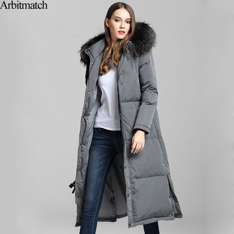Arbitmatch New Long Down Coats Winter Down Jacket Women Natural Large Racoon Fur Collar Hooded Warm Thick Outwear Female Parka