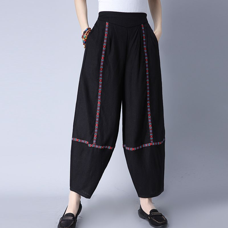 2018 Spring And Summer Wear, New Style Of Art And Art, Haren Trousers, Ancient Cotton And Flax, Fat Mm, National Style Loose Pan