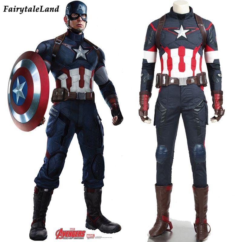 Neue Marvel The Avengers Alter von Ultron Captain America Cosplay Kostüm Steve Rogers Outfits Erwachsene Superhero Halloween Kostüm männer
