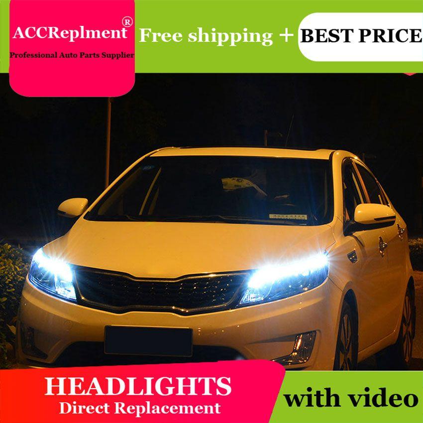 Auto styling Für KIA K2 scheinwerfer U engel augen 2011-2013 Für KIA K2 LED licht bar Q5 bi xenon objektiv h7 xenon projektor Led-lampe