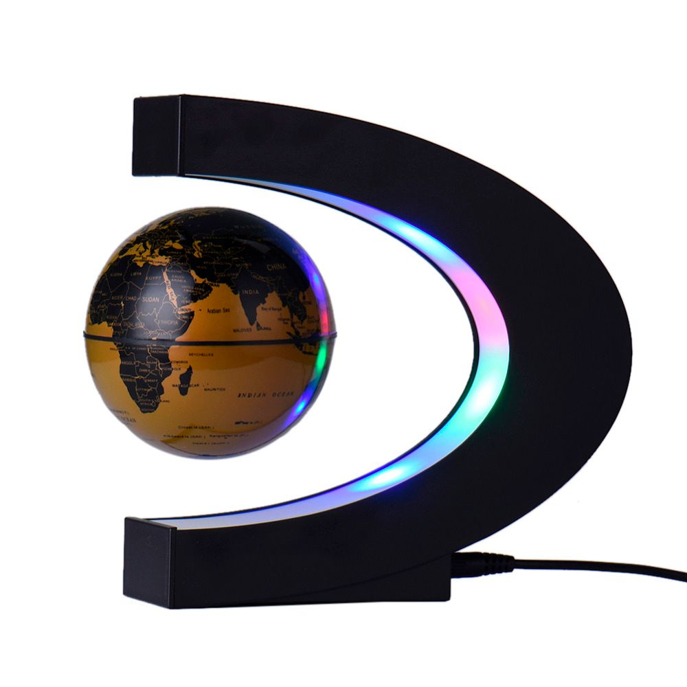 Fashion C Shape Home Decorations Magnetic Levitation Tellurion Floating with LED Light Globe World Map Wedding <font><b>Birthday</b></font> Gift