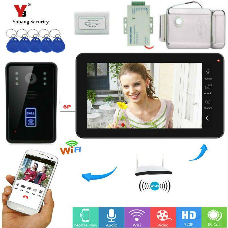 9 Inch Monitor RFID Video Intercom Wifi Wireless Video Tür Telefon Türklingel Kamera Intercom System Mit Netzteil Türschloss