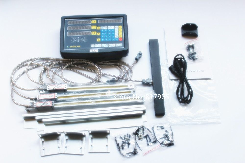 Free shipping new 3 Axis digital readout with linear scale 100-1020mm 5micron linear encoder complete dro kits