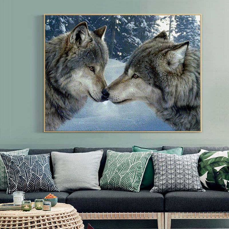 Meian Cross Stitch Embroidery Kits 14CT <font><b>Wolf</b></font> Animal Snow Cotton Thread Painting DIY Needlework DMC New Year Home Decor VS-0002