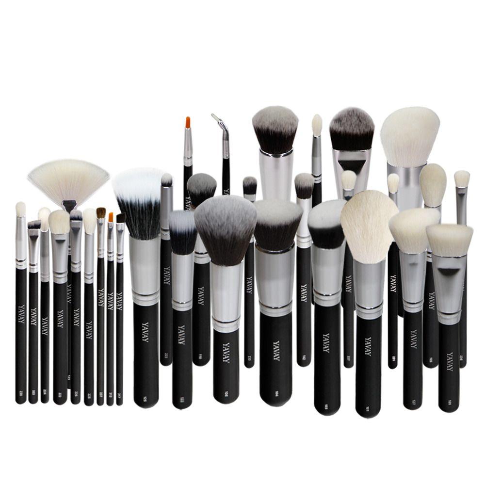 YAVAY 32 pcs Premium Maquillage brosse set de Haute Qualité Doux Taklon Poils de chèvre Maquillage Professionnel Artiste Brosse Outil Kit Y32