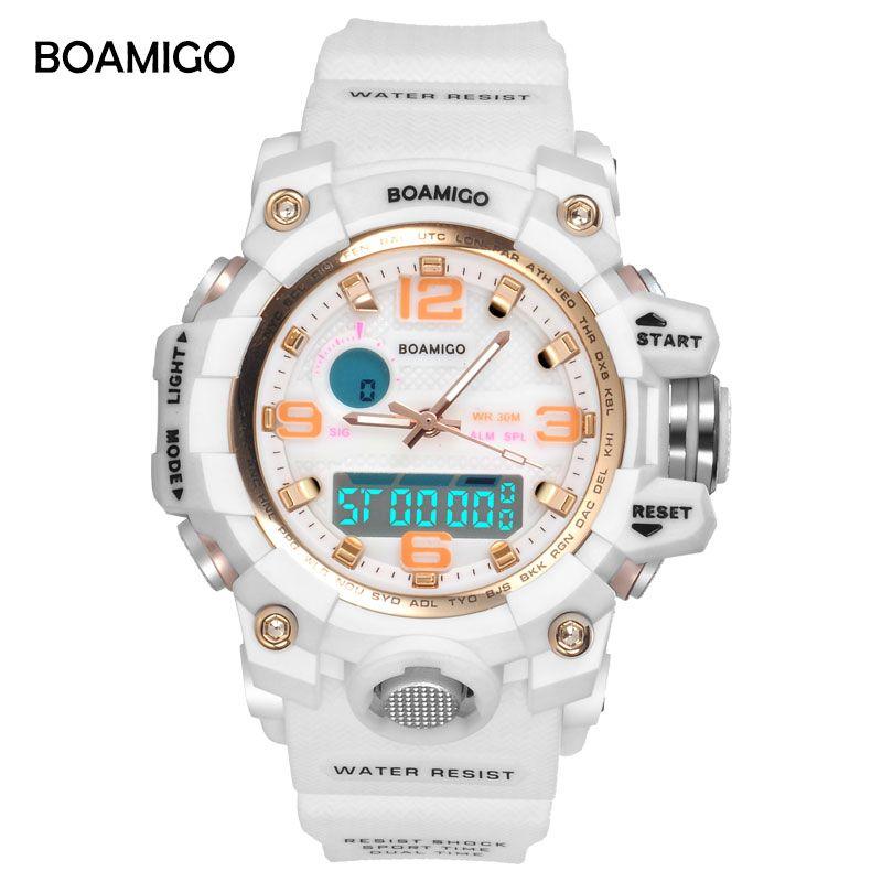BOAMIGO Brand Watches Women Sports Watches Fashion Ladies <font><b>Quartz</b></font> Wrist Watches White Swim Digital shock Clock Relogio Feminino