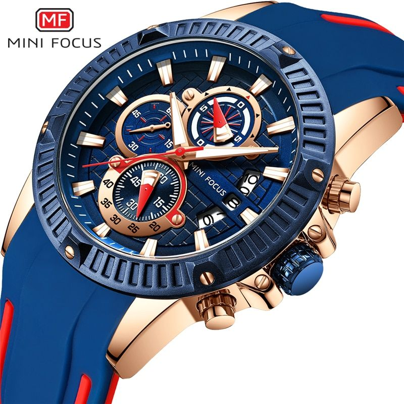 MINIFOCUS Sport montre-bracelet hommes de luxe étanche Relogio Masculino marque de mode montre pour homme militaire Quartz Silicone bleu