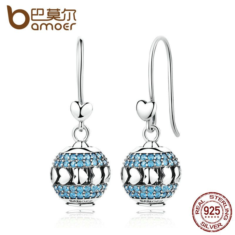 BAMOER Exclusive Design 100% 925 Sterling Silver Heart To Heart Blue Crystals Drop Earrings Set With Beads DIY Fine Jewelry