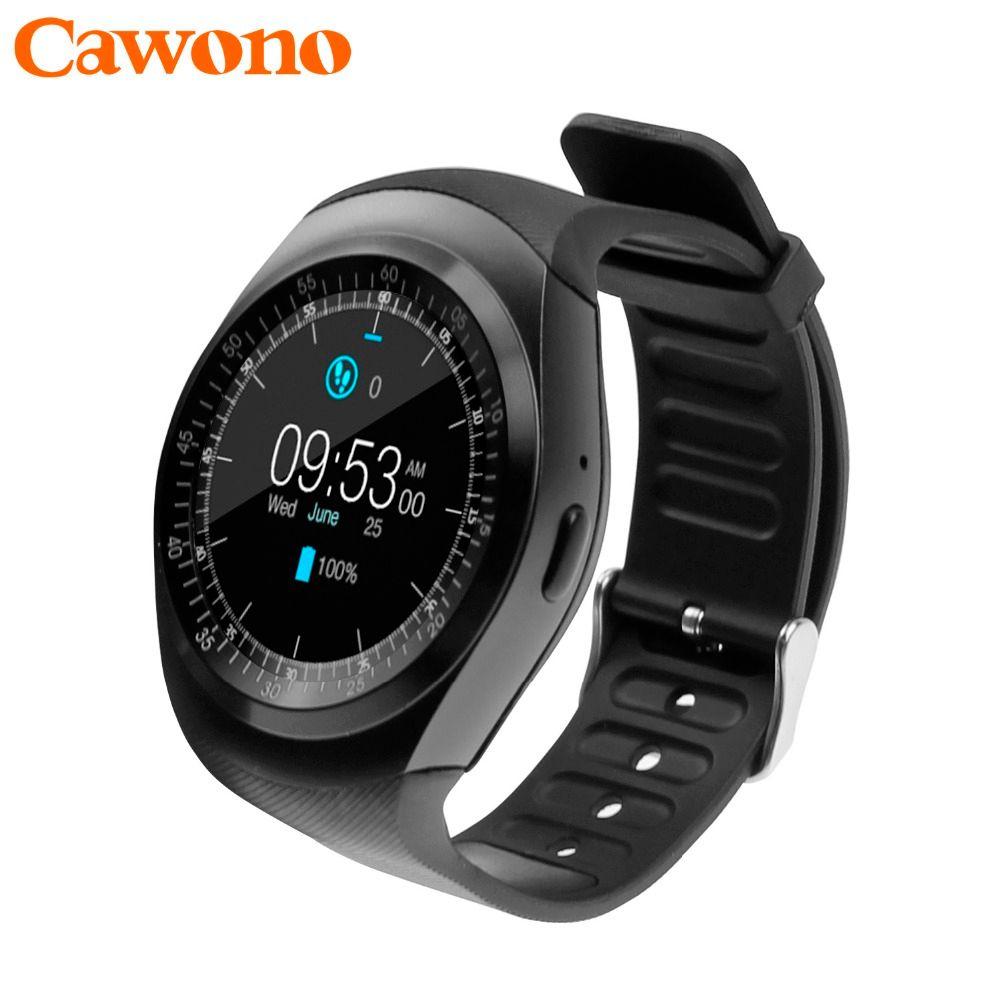 Cawono Bluetooth умные часы SmartWatch Y1 Смарт часы Reloj relogios 2 г GSM SIM приложение синхронизации Mp3 для Apple IPhone Xiaomi Android телефоны Черный